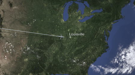 Airliner flying to Louisville, United States from west. 3D rendering Stock Photo