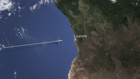Commercial plane arrives to Luanda, Angola, 3D rendering