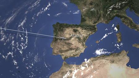 Airplane flying to Madrid, Spain on the map. 3D rendering 版權商用圖片
