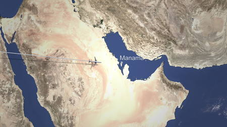 Route of a commercial plane flying to Manama, Bahrain on the map. 3D rendering