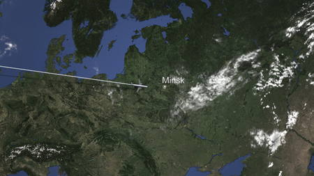 Plane arriving to Minsk, Belarus from west, 3D rendering