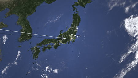 Airliner flying to Tokyo, Japan from west. 3D rendering Stockfoto
