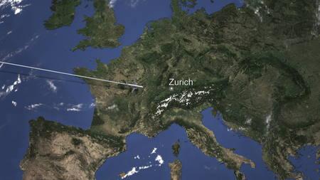 Commercial plane arrives to Zurich, Switzerland, 3D rendering