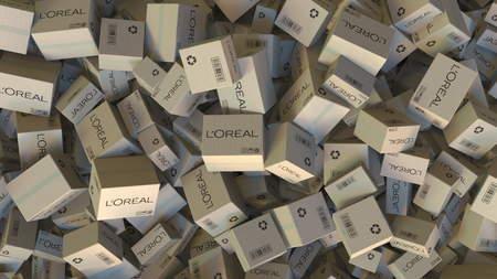 LOREAL logo on piled cartons. Editorial 3D rendering