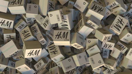 H&M logo on piled cartons. Editorial 3D rendering
