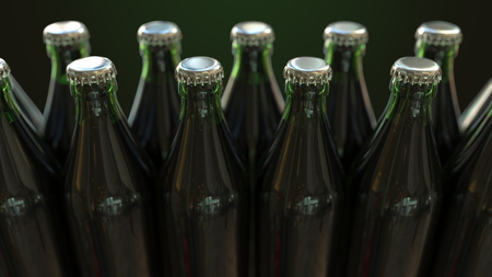 Line of closed green bottles with beer or mineral water, 3D rendering