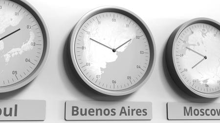 Clock shows Buenos Aires, Argentina time among different timezones. Conceptual 3D rendering