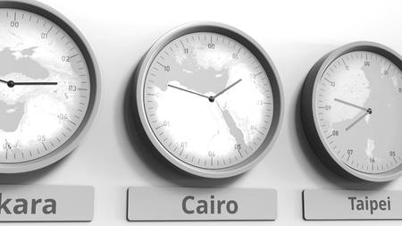 Clock shows Cairo, Egypt time among different timezones. Conceptual 3D rendering Stock Photo