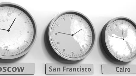 Round clock showing San Francisco, USA time within world time zones. Conceptual 3D rendering Stock Photo