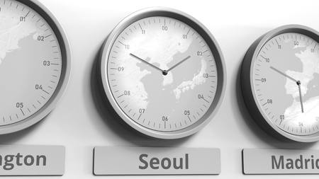 Clock shows Seoul, South Korea time among different timezones. Conceptual 3D rendering