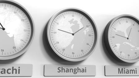 Round clock showing Shanghai, China time within world time zones. Conceptual 3D rendering