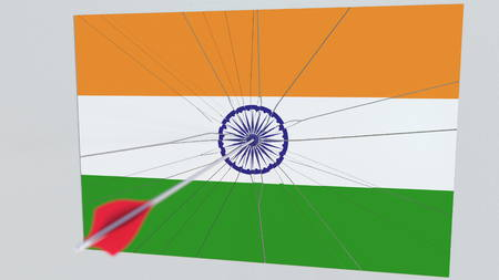 Flag of INDIA plate being hit by archery arrow. Conceptual 3D rendering Banco de Imagens