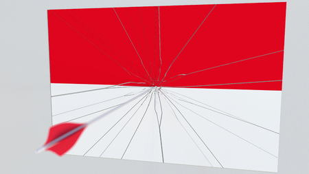 Flag of INDONESIA plate being hit by archery arrow. Conceptual 3D rendering Stock Photo