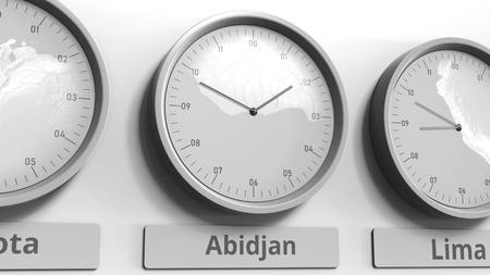 Focus on the clock showing Abidjan, Ivory Coast time. Conceptual 3D rendering