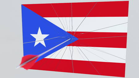Archery arrow hits target featuring flag of PUERTO RICO. State security breach related 3D rendering Stock Photo