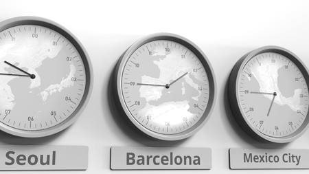 Round clock showing Barcelona, Spain time within world time zones. Conceptual 3D rendering