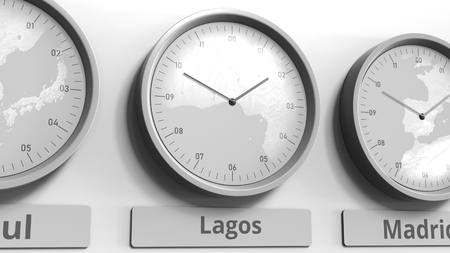 Focus on the clock showing Lagos, Nigeria time. Conceptual 3D rendering Stock Photo