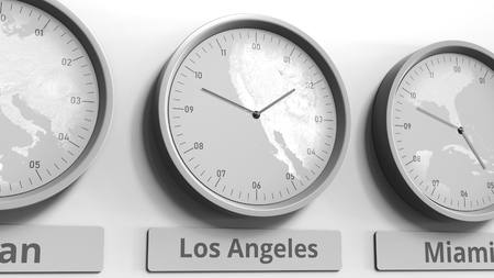 Round clock showing Los Angeles, USA time within world time zones. Conceptual 3D rendering Stock Photo