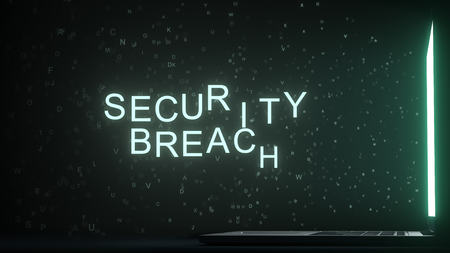 SECURITY BREACH text appearing near laptop screen. Conceptual 3D rendering