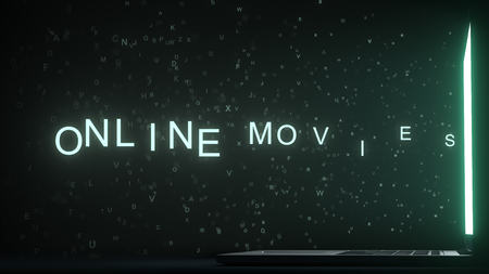 ONLINE MOVIES text appearing near laptop screen. Conceptual 3D rendering