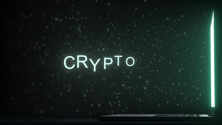 Letters leaving laptop display form CRYPTO text. 3D rendering