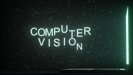 Letters leaving computer screen form COMPUTER VISION text, 3D rendering
