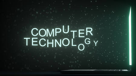 Letters leaving computer screen form COMPUTER TECHNOLOGY text, 3D rendering 스톡 콘텐츠