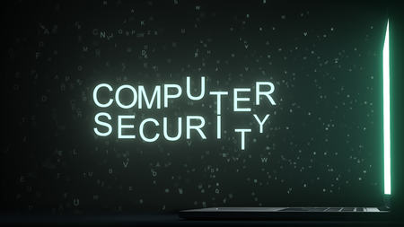 COMPUTER SECURITY text made with letters flying off laptop screen. 3D rendering