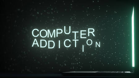 COMPUTER ADDICTION text made with letters flying off laptop screen. 3D rendering