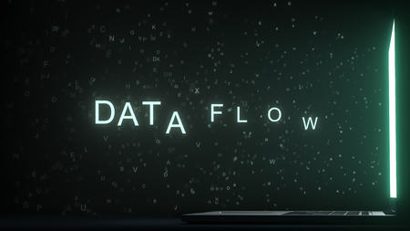 DATA FLOW text made with letters flying off laptop screen. 3D rendering
