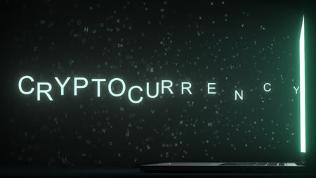 Letters leaving computer screen form CRYPTOCURRENCY text, 3D rendering