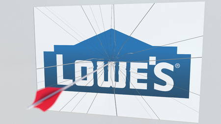 LOWES company logo being hit by archery arrow. Business crisis conceptual editorial 3D rendering