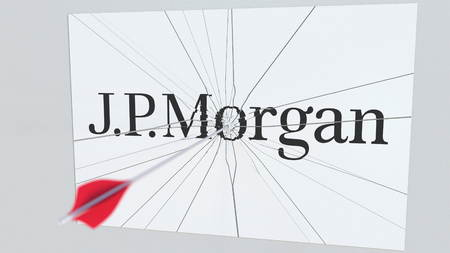 J.P.MORGAN company logo being hit by archery arrow. Business crisis conceptual editorial 3D rendering Publikacyjne