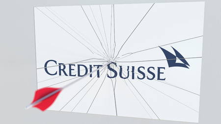 CREDIT SUISSE company logo being cracked by archery arrow. Corporate problems conceptual editorial 3D rendering