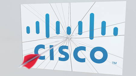 Archery arrow breaks glass plate with CISCO company logo. Business issue conceptual editorial 3D rendering