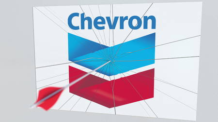 CHEVRON company logo being cracked by archery arrow. Corporate problems conceptual editorial 3D rendering