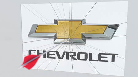 CHEVROLET company logo being hit by archery arrow. Business crisis conceptual editorial 3D rendering