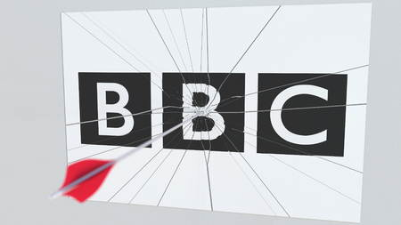 Archery arrow hits plate with BBC logo. Corporate problems conceptual editorial 3D rendering Editoriali