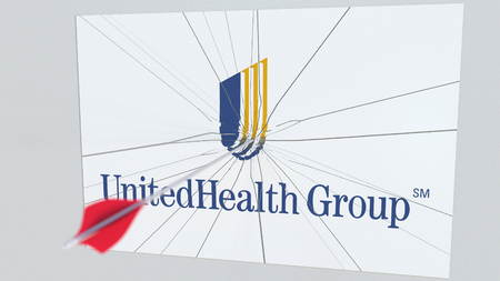 UNITEDHEALTH GROUP company logo being hit by archery arrow. Business crisis conceptual editorial 3D rendering Editorial
