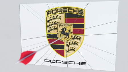 Archery arrow hits plate with PORSCHE logo. Corporate problems conceptual editorial 3D rendering
