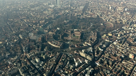 Aerial view of Castello Sforzesco castle and Sempione Park in Milan, Italy