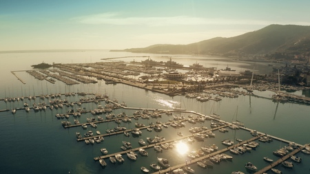 Aerial view of Porto Mirabello harbour in La Spezia and distant Porta Marola naval base, Italy Standard-Bild