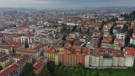 Aerial view of Bergamo cityscape, Italy