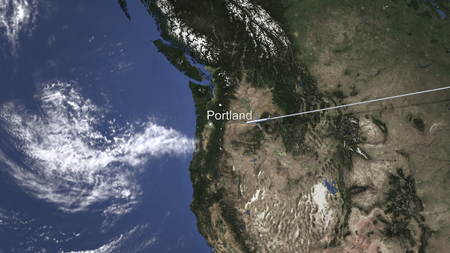 Route of a commercial plane flying to Portland, United States on the map, 3D rendering