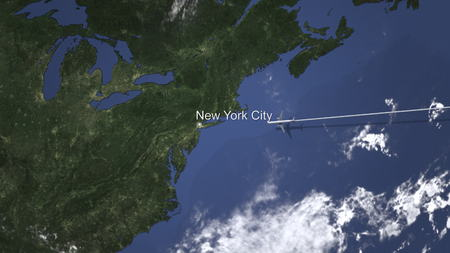 Commercial airplane flying to New York City, United States, 3D rendering