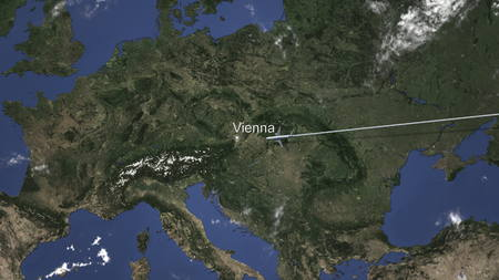 Commercial airplane flying to Vienna, Austria, 3D rendering