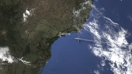 Airplane flying to Santos, Brazil on the map, 3D rendering Фото со стока