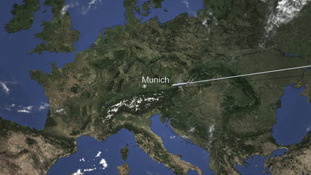 Route of a commercial plane flying to Munich, Germany on the map, 3D rendering