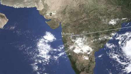 Plane arrives to Mumbai, India from east, 3D rendering Foto de archivo