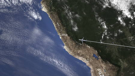 Commercial airplane flying to Lima, Peru, 3D rendering Stock fotó